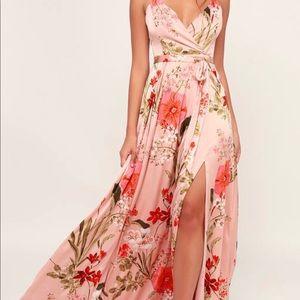 Pink Floral Floral Print Satin Maxi dress